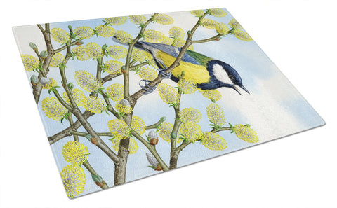 Buy this Eurasian Blue Tit on a branch Glass Cutting Board Large ASA2156LCB