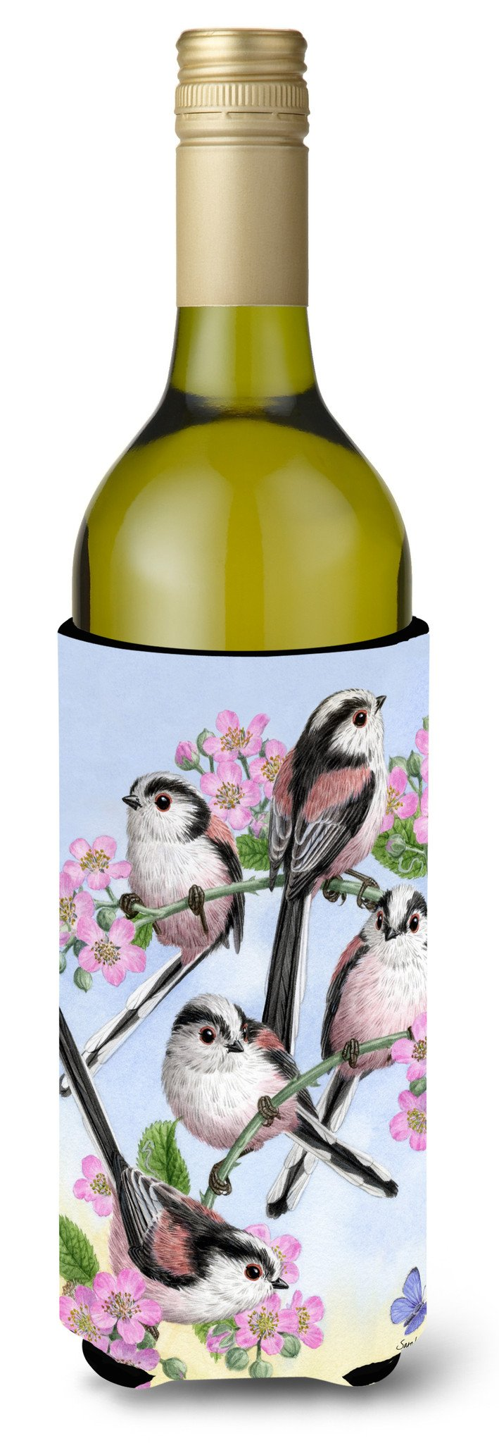Buy this Party of 5 Long Tailed Tits Wine Bottle Beverage Insulator Hugger ASA2163LITERK