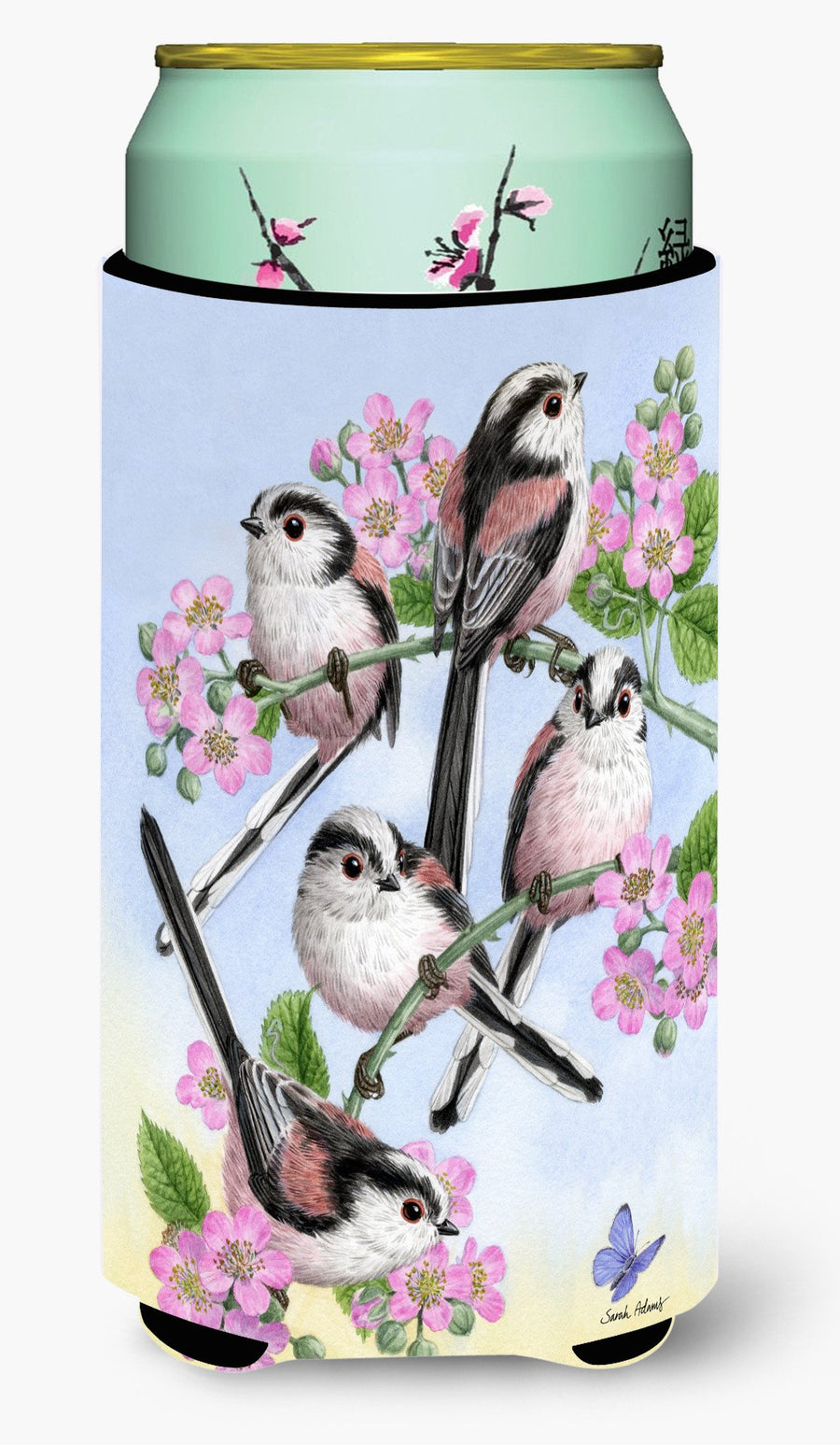 Buy this Party of 5 Long Tailed Tits Tall Boy Beverage Insulator Hugger ASA2163TBC