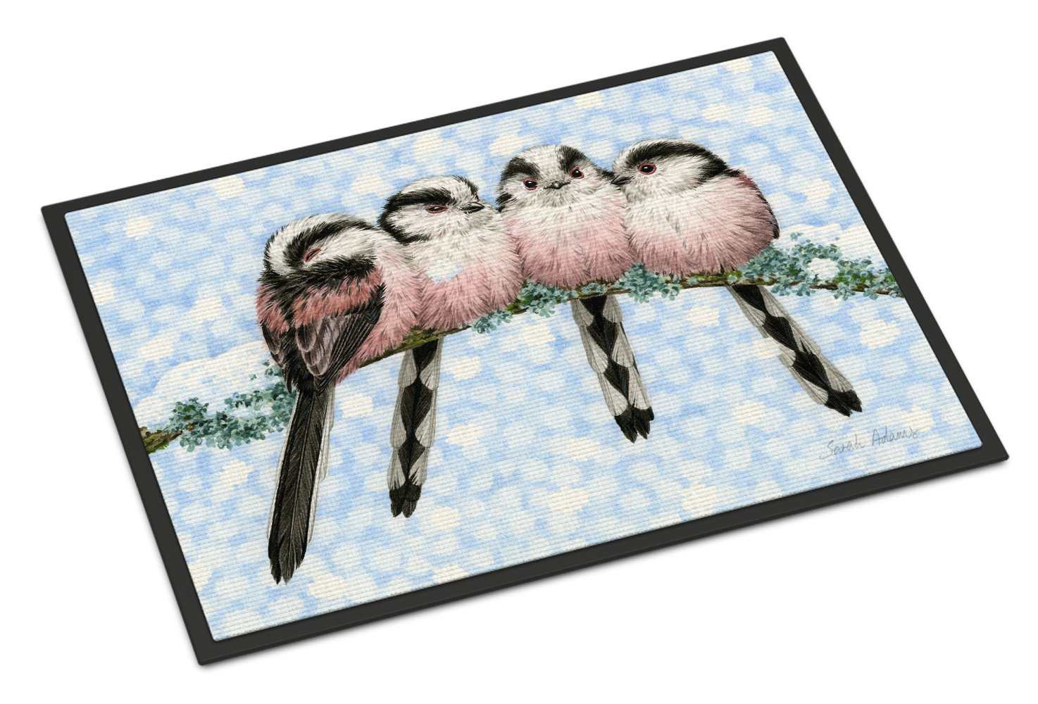 Roosting Long Tailed Tits Indoor or Outdoor Mat 18x27 ASA2169MAT by Caroline's Treasures