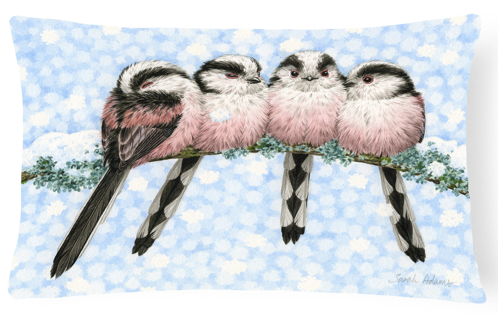 Roosting Long Tailed Tits Fabric Decorative Pillow ASA2169PW1216 by Caroline's Treasures