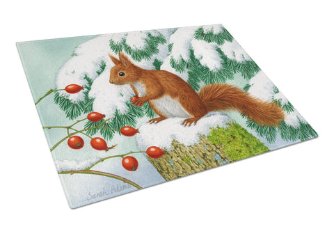 Buy this Winter Red Squirrel Glass Cutting Board Large ASA2172LCB