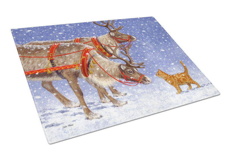 Buy this Reindeer & Cat Glass Cutting Board Large ASA2174LCB