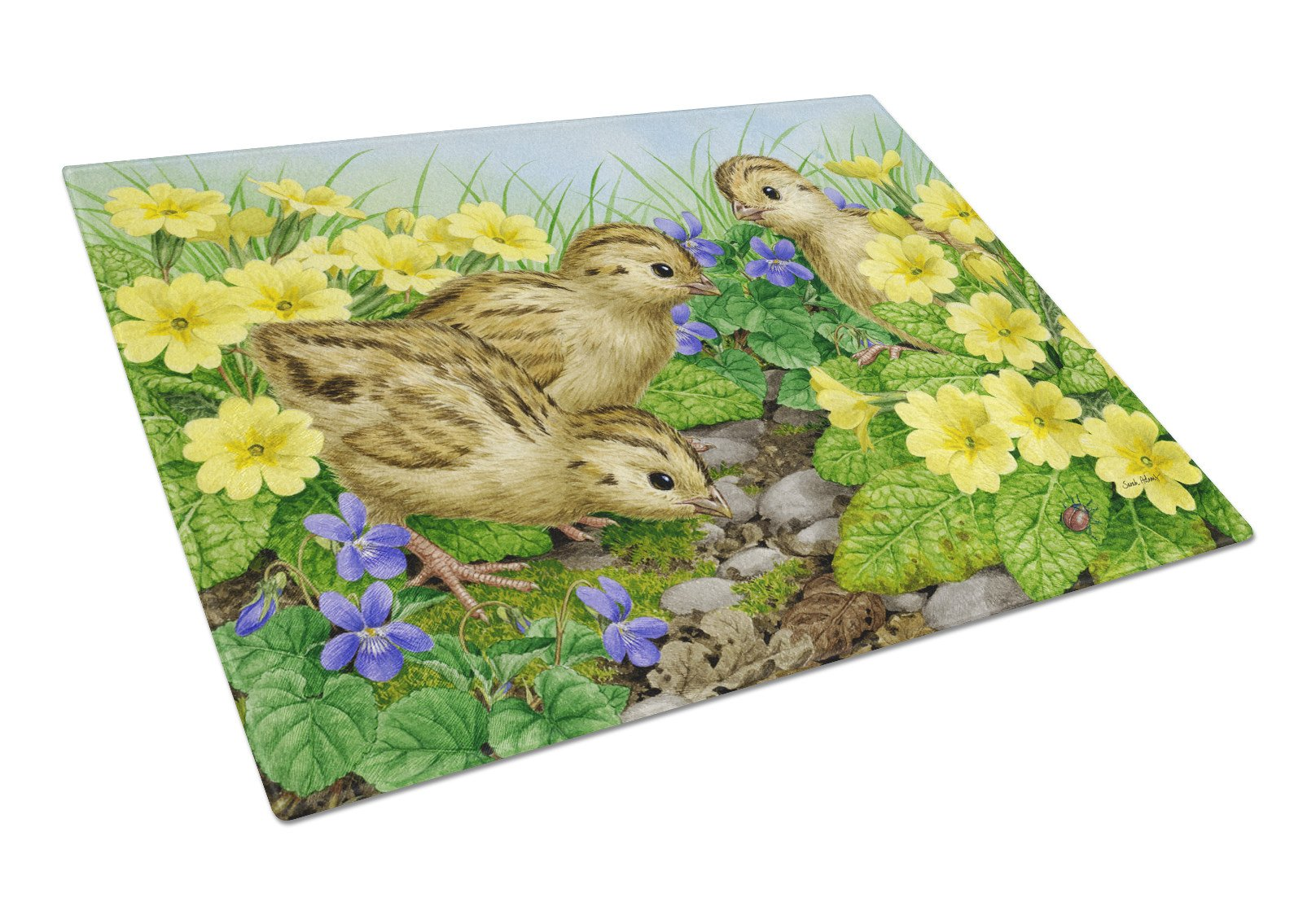 Pheasant Chicks Glass Cutting Board Large ASA2177LCB by Caroline's Treasures