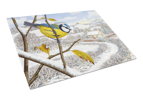 Buy this Winter Eurasian Blue Tit Glass Cutting Board Large ASA2188LCB