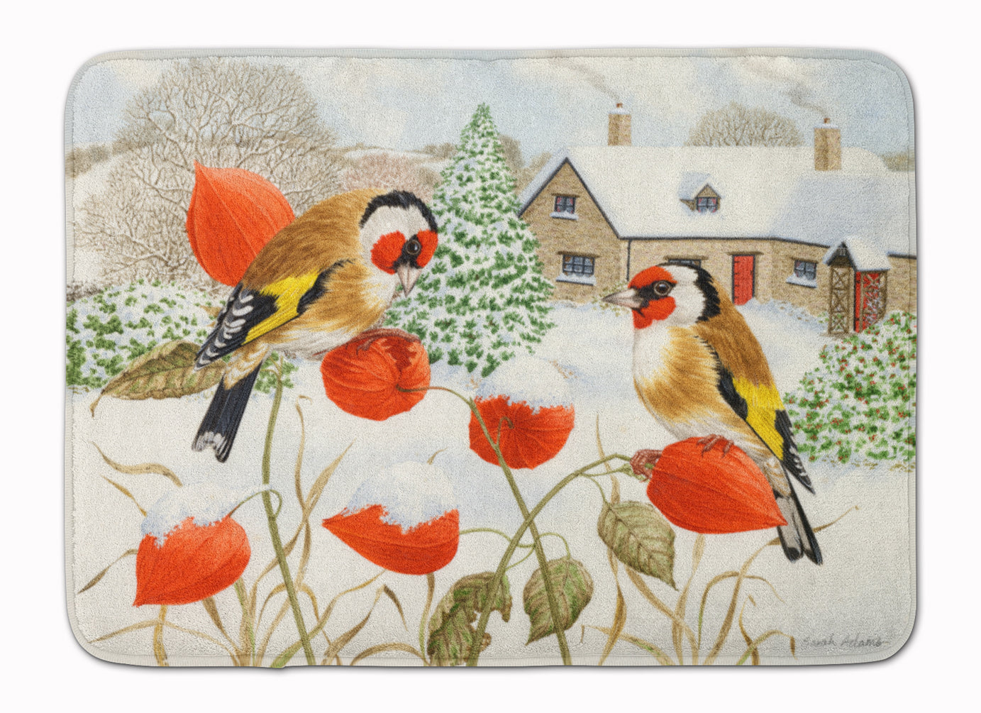 European Goldfinches Machine Washable Memory Foam Mat ASA2189RUG by Caroline's Treasures