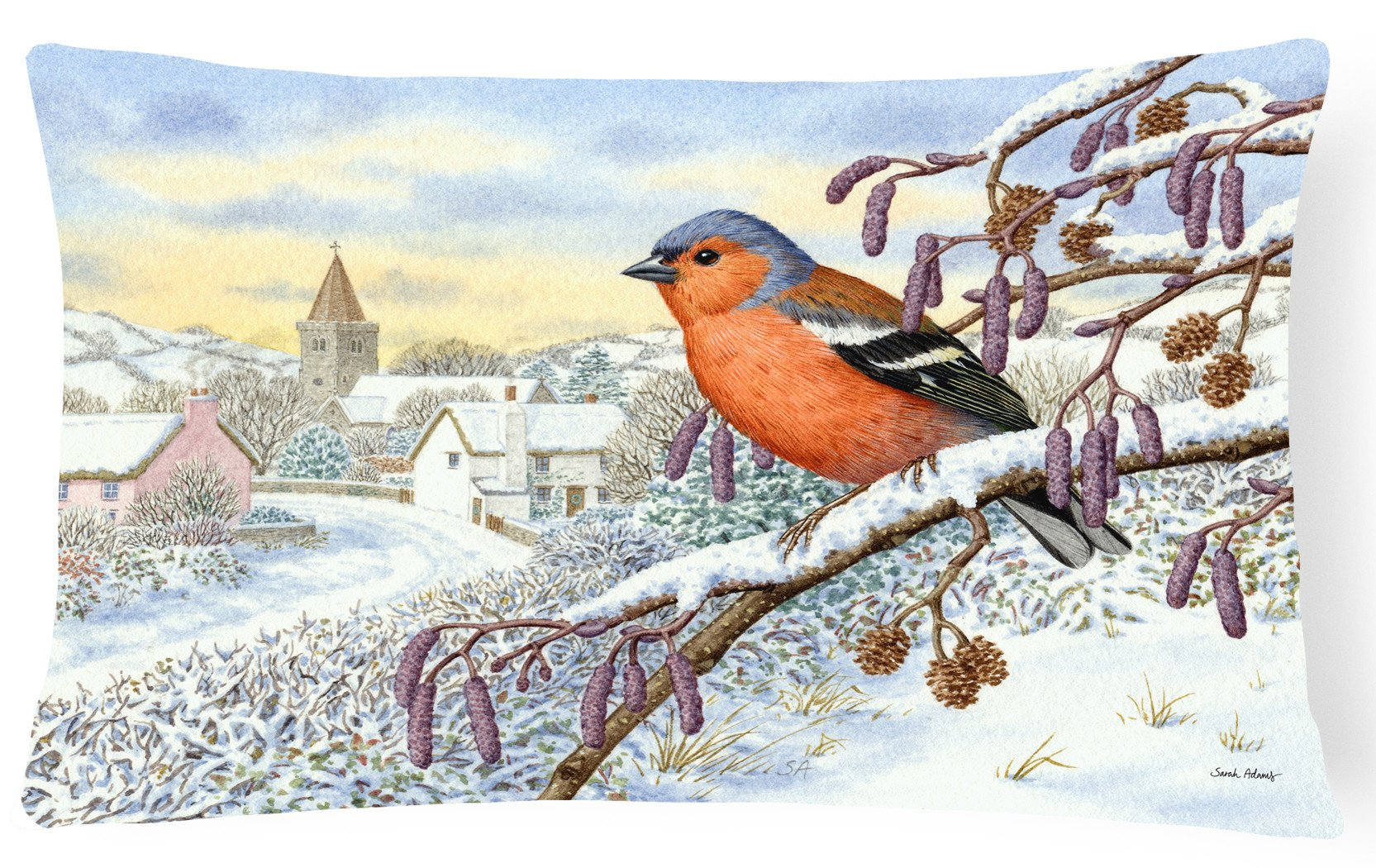 Bull Finch Fabric Decorative Pillow ASA2193PW1216 by Caroline's Treasures