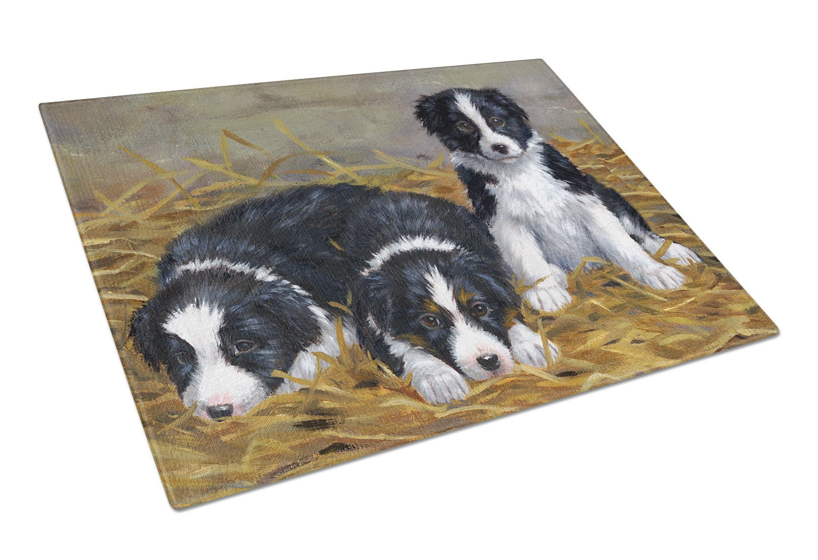 Border Collie Puppies Glass Cutting Board Large ASA2196LCB by Caroline's Treasures