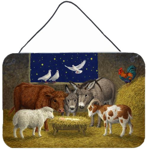 Buy this Animals at Crib Nativity Christmas Scene Wall or Door Hanging Prints ASA2205DS812