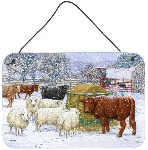 Buy this Cows and Sheep in the Snow Wall or Door Hanging Prints ASA2207DS812