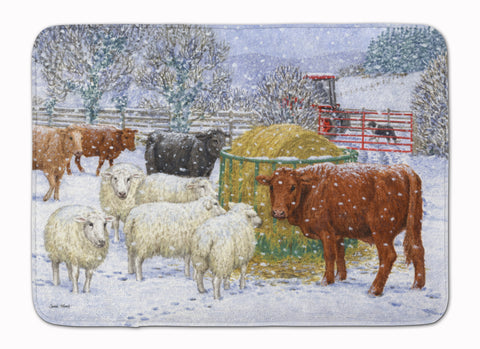 Buy this Cows and Sheep in the Snow Machine Washable Memory Foam Mat ASA2207RUG