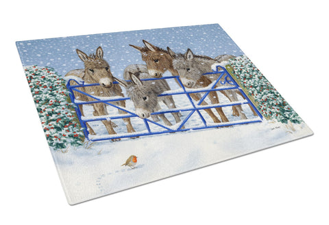 Buy this Donkeys and Robin at the Fence Glass Cutting Board Large ASA2210LCB