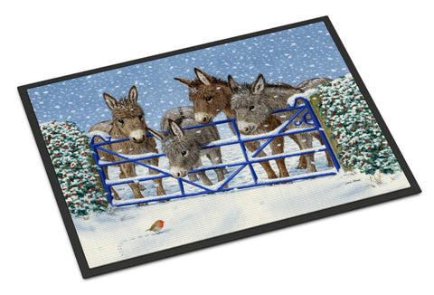 Buy this Donkeys and Robin at the Fence Indoor or Outdoor Mat 18x27 ASA2210MAT