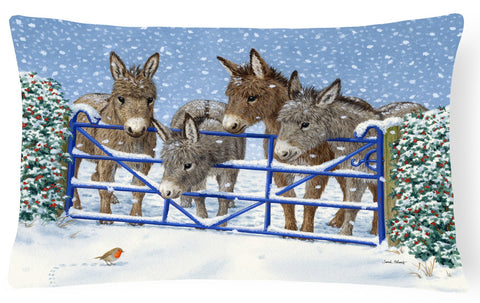 Buy this Donkeys and Robin at the Fence Fabric Decorative Pillow ASA2210PW1216
