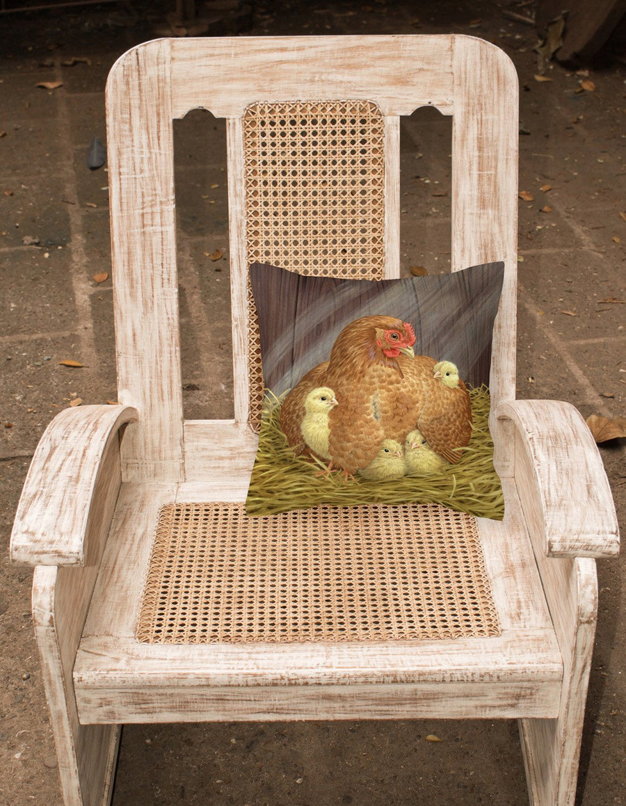 Buy this My Little Chickadees Hen with Chicks Canvas Decorative Pillow ASAD0109PW1414