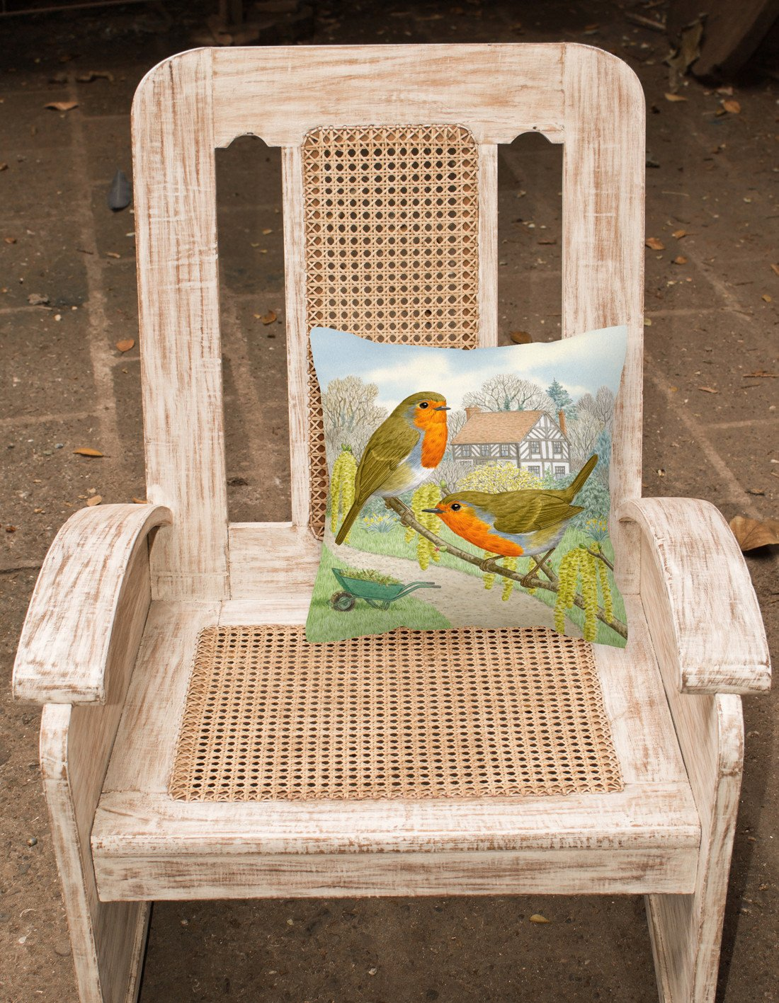 European Robin by Sarah Adams Canvas Decorative Pillow ASAD0684PW1414 - the-store.com