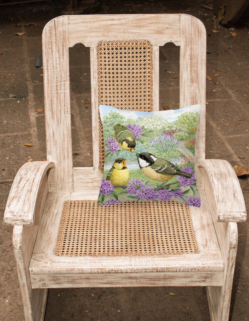 Coal Tits Feeding Time Canvas Decorative Pillow ASAD0686PW1414 by Caroline's Treasures
