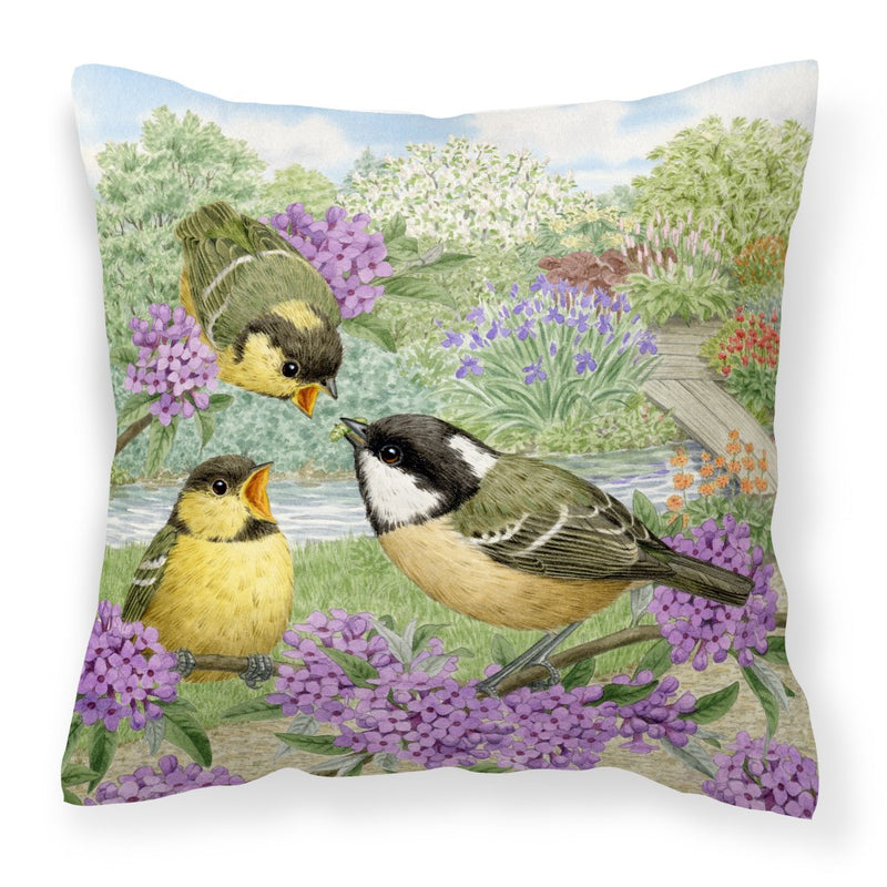 Coal Tits Feeding Time Canvas Decorative Pillow by Caroline's Treasures