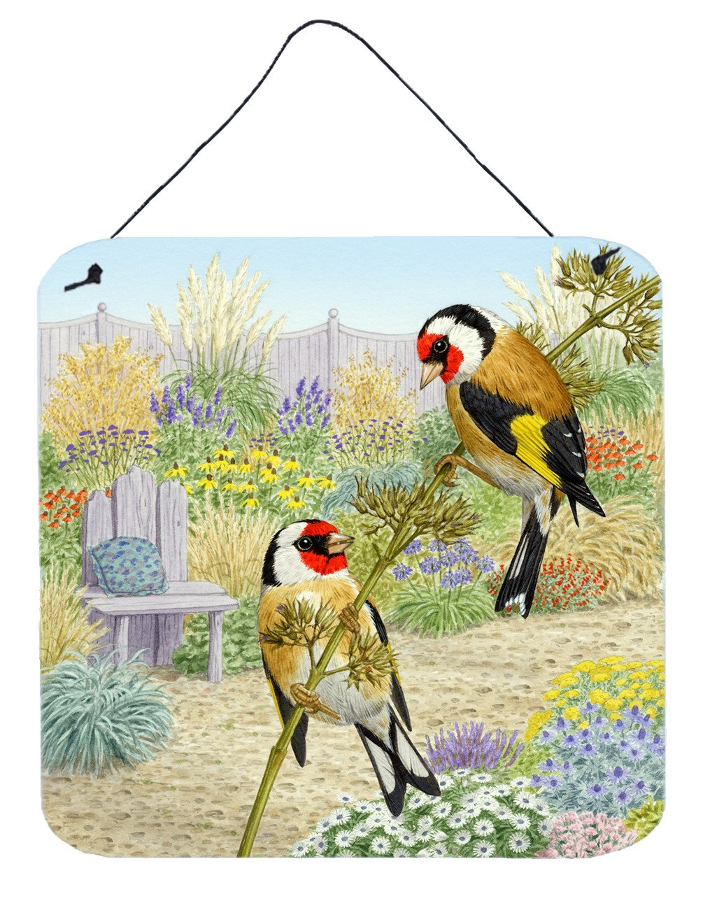 European Goldfinches by Sarah Adams Wall or Door Hanging Prints ASAD0691DS66 by Caroline's Treasures