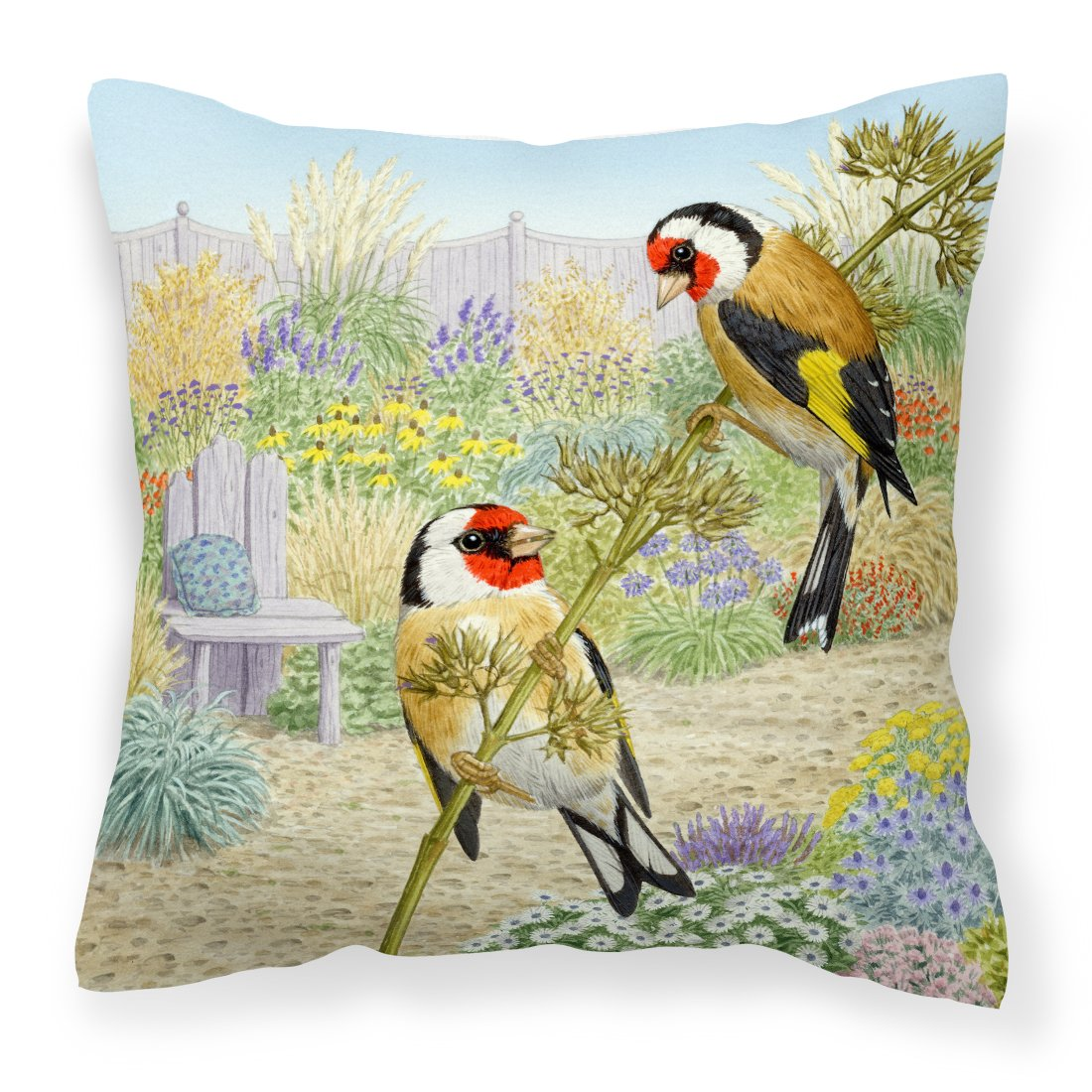 Buy this European Goldfinches by Sarah Adams Canvas Decorative Pillow