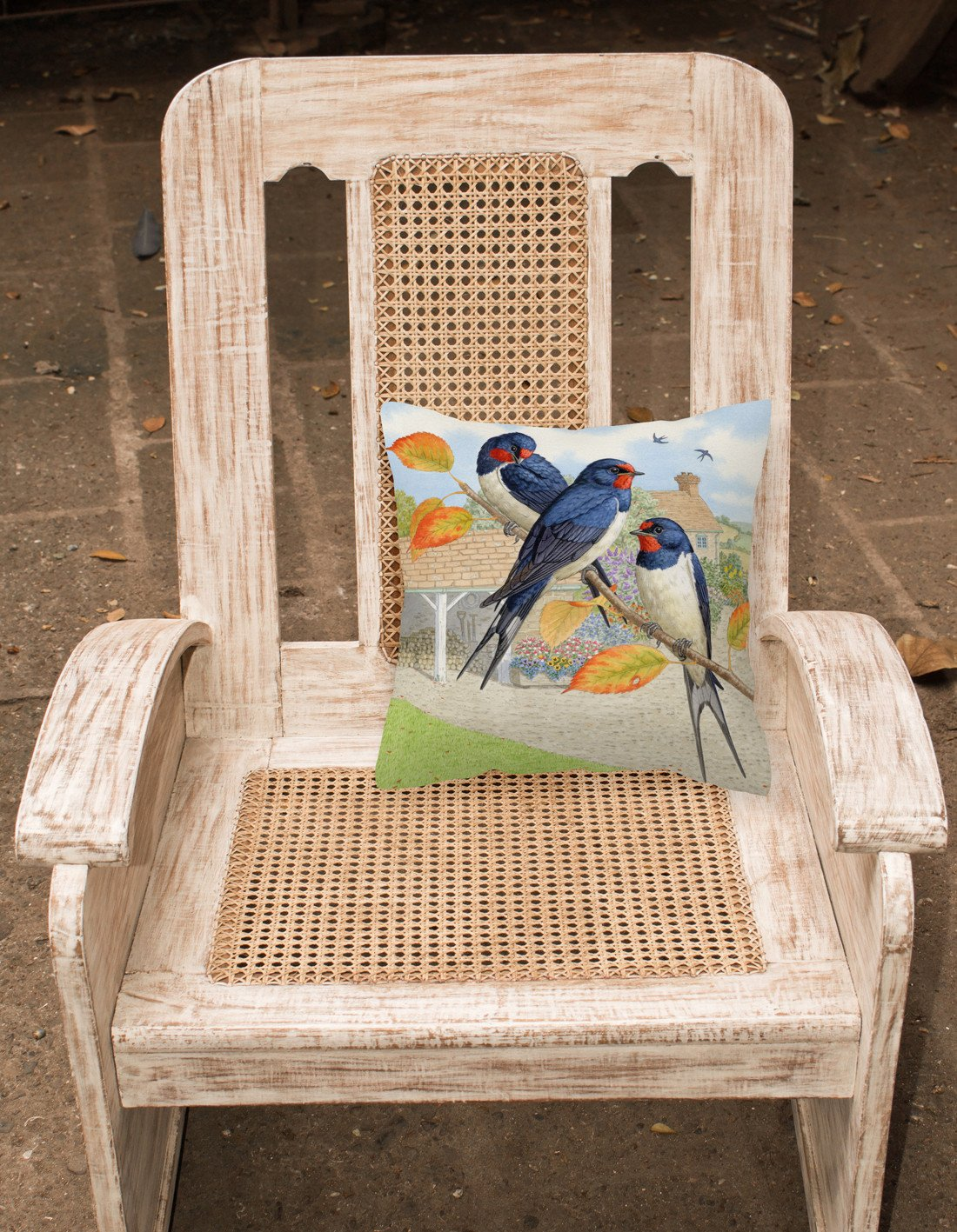 Swallows by Sarah Adams Canvas Decorative Pillow ASAD0694PW1414 by Caroline's Treasures