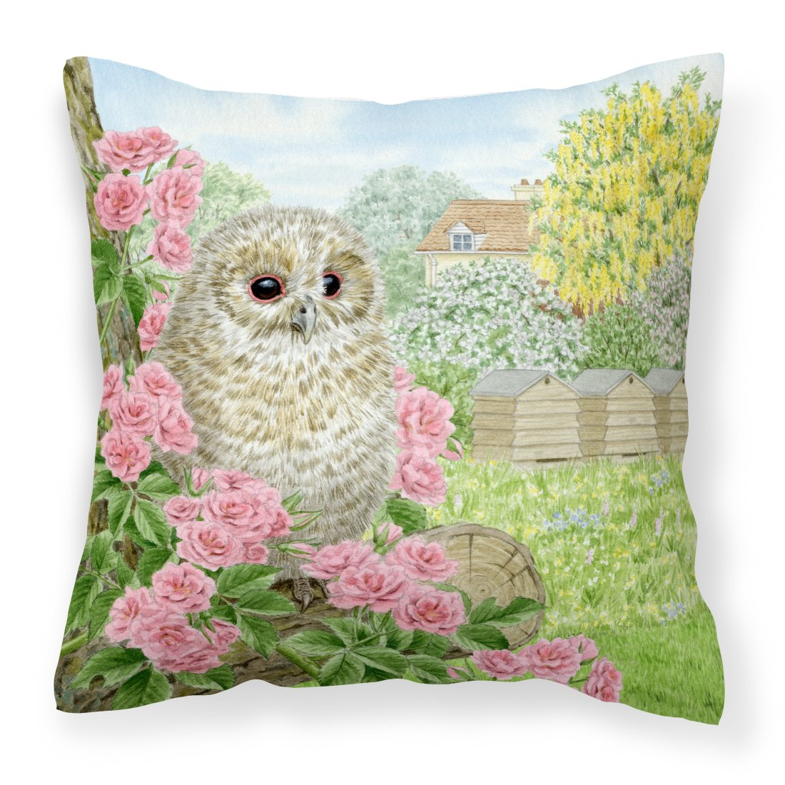 Tawny Owlet by Sarah Adams Canvas Decorative Pillow by Caroline's Treasures