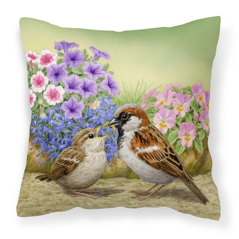 Buy this House Sparrows Feeding Time Canvas Decorative Pillow