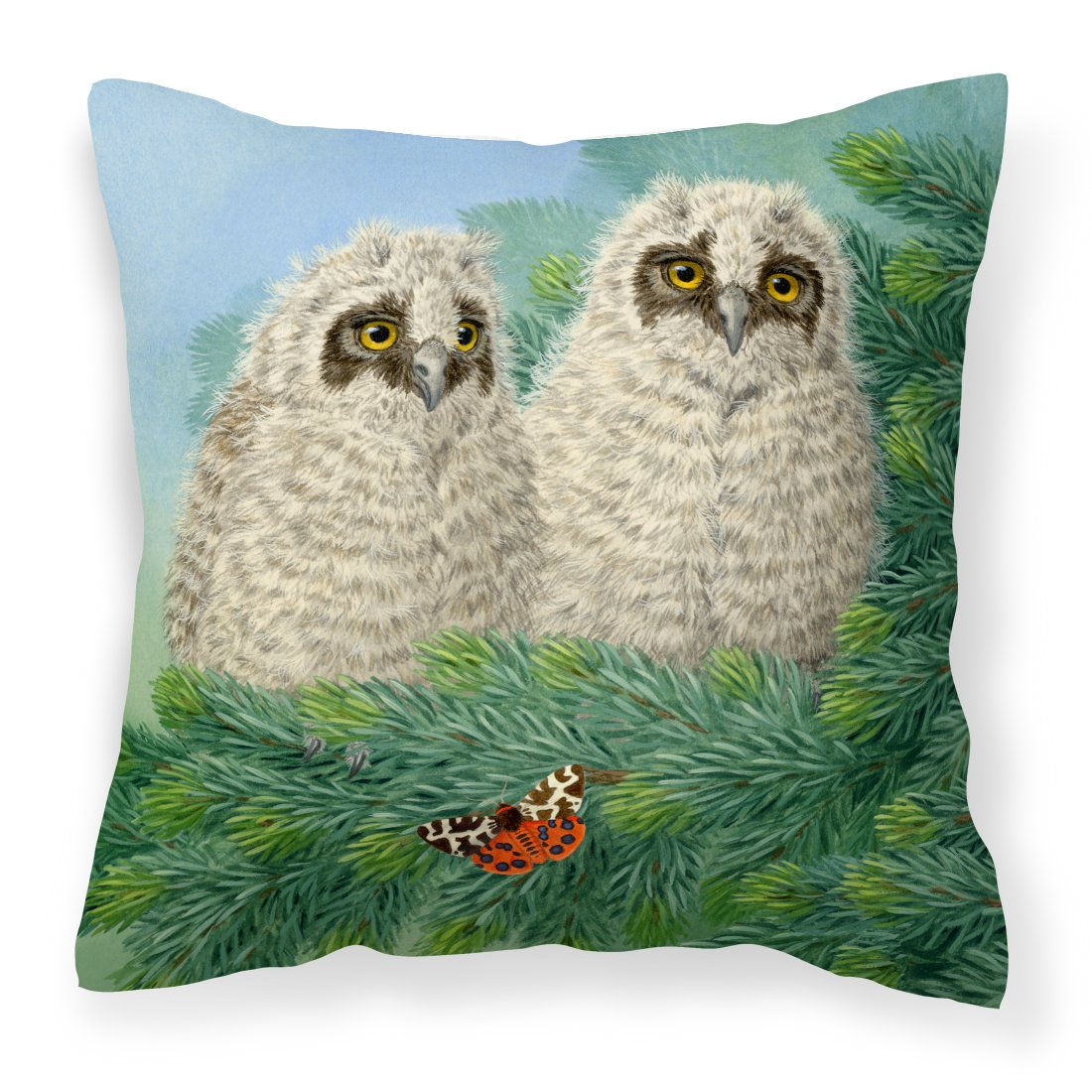 Owlets and Butterfly by Sarah Adams Canvas Decorative Pillow by Caroline's Treasures