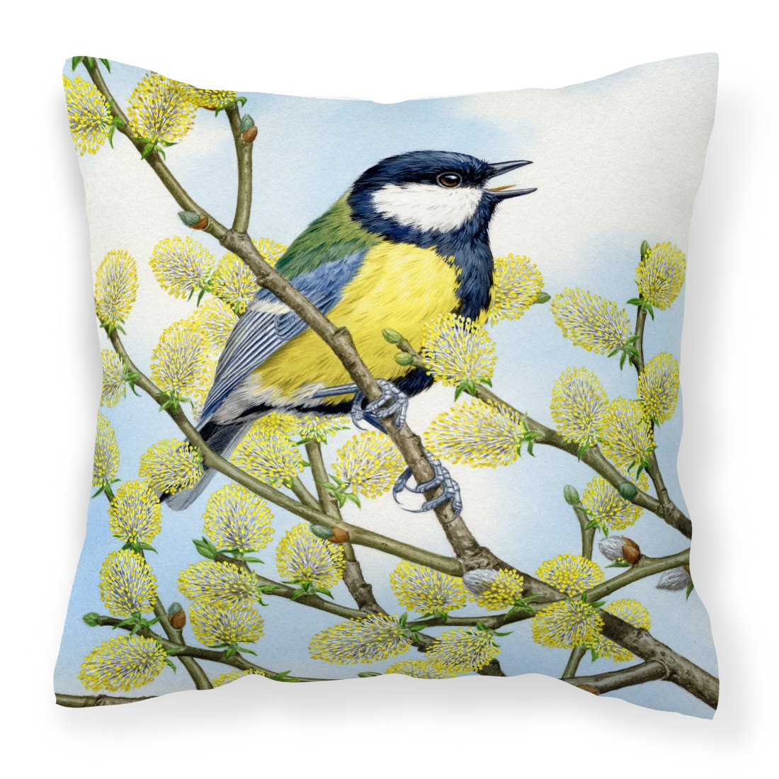Buy this Eurasian Blue Tit by Sarah Adams Canvas Decorative Pillow