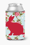 Rabbit Shabby Chic Blue Roses Can or Bottle Beverage Insulator Hugger BB1002 by Caroline's Treasures