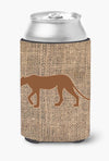Leopard Burlap and Brown Can or Bottle Beverage Insulator Hugger by Caroline's Treasures