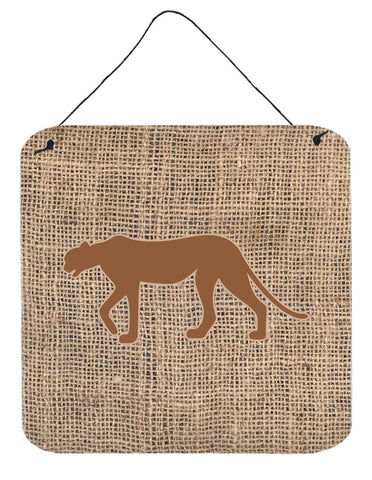 Buy this Leopard Burlap and Brown Aluminium Metal Wall or Door Hanging Prints BB1004