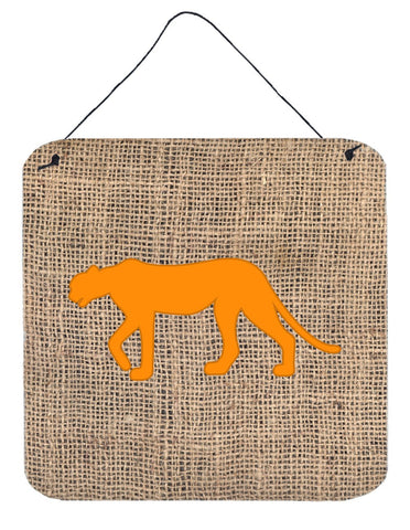 Buy this Leopard Burlap and Orange Aluminium Metal Wall or Door Hanging Prints BB1004