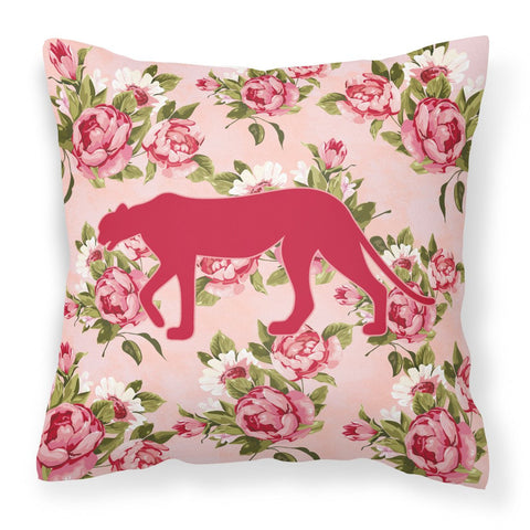 Buy this Leopard Shabby Chic Pink Roses   Fabric Decorative Pillow BB1004-RS-PK-PW1414