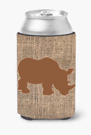 Buy this Rhinoceros Burlap and Brown Can or Bottle Beverage Insulator Hugger