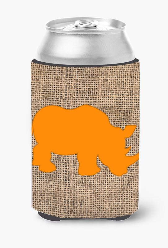 Rhinoceros Burlap and Orange Can or Bottle Beverage Insulator Hugger BB1006 by Caroline's Treasures