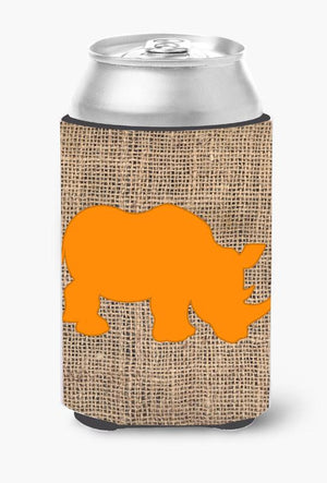 Buy this Rhinoceros Burlap and Orange Can or Bottle Beverage Insulator Hugger BB1006