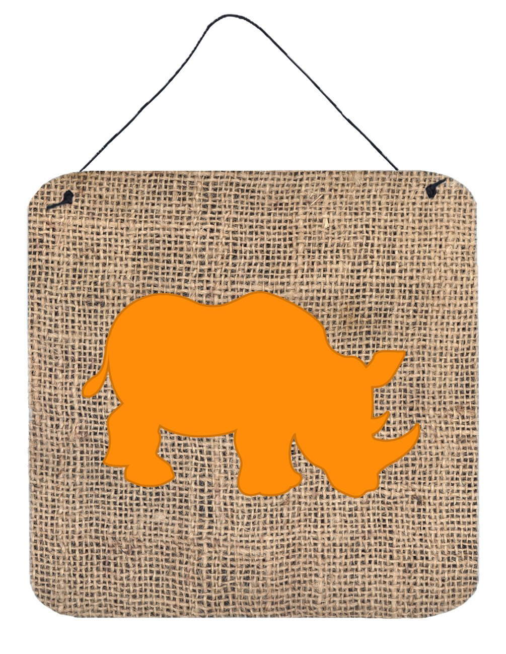 Rhinoceros Burlap and Orange Aluminium Metal Wall or Door Hanging Prints BB1006 by Caroline's Treasures