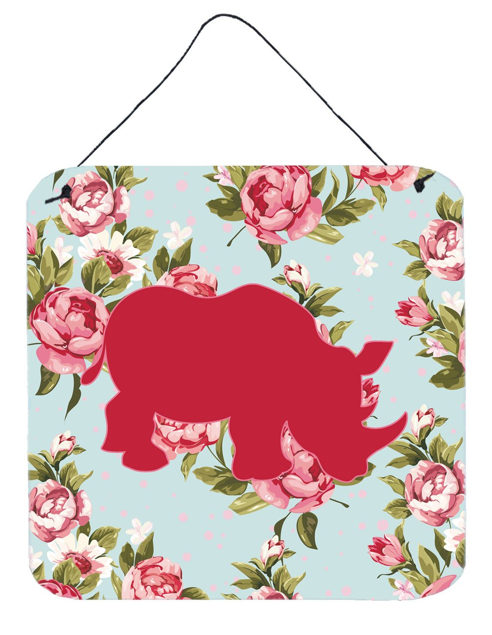 Buy this Rhinoceros Shabby Chic Blue Roses Wall or Door Hanging Prints BB1006
