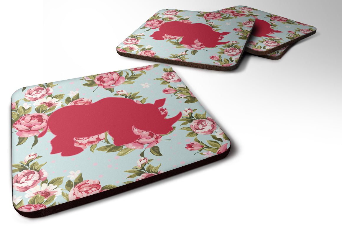 Buy this Set of 4 Rhinoceros Shabby Chic Blue Roses Foam Coasters