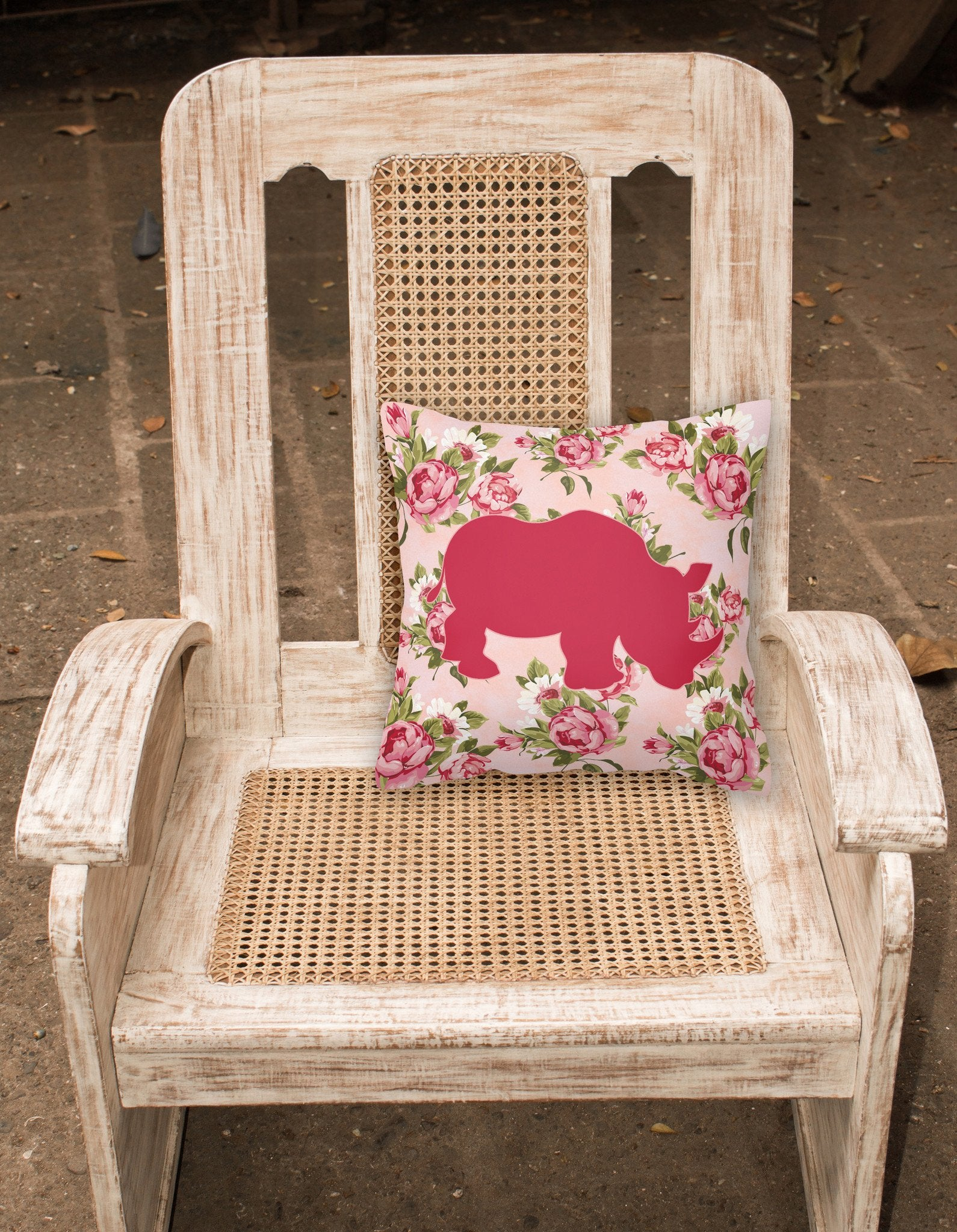 Rhinoceros Shabby Chic Pink Roses   Fabric Decorative Pillow BB1006-RS-PK-PW1414 by Caroline's Treasures