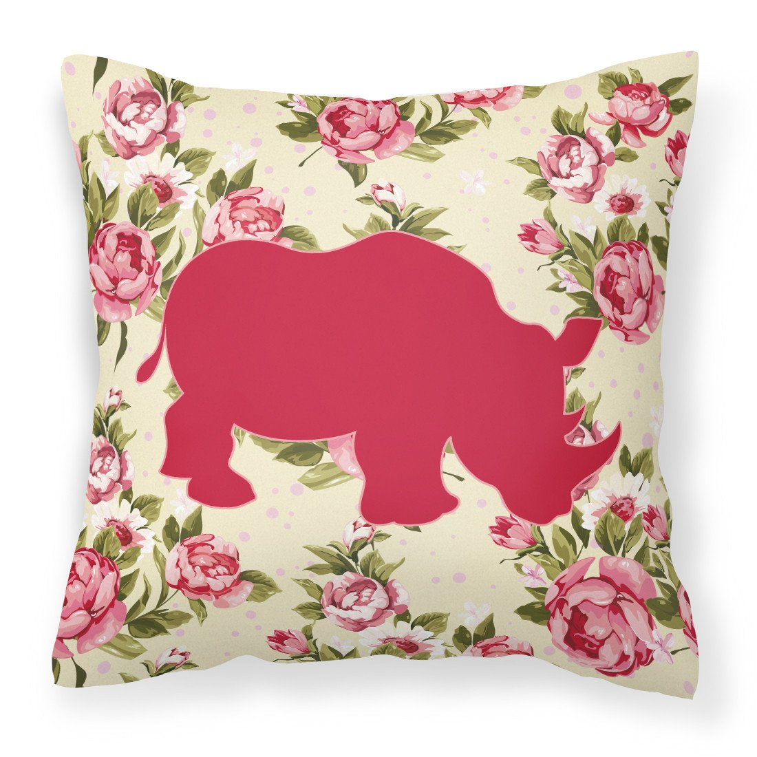 Buy this Rhinoceros Shabby Chic Yellow Roses   Fabric Decorative Pillow BB1006-RS-YW-PW1414