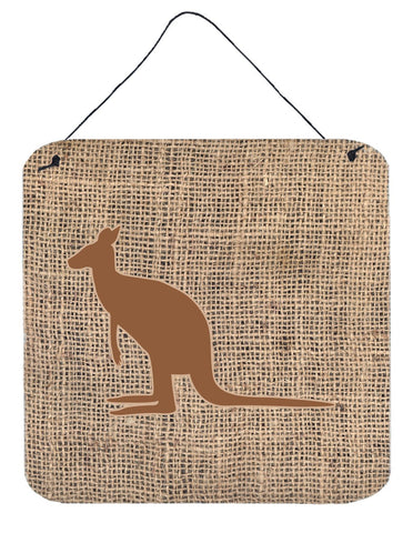 Buy this Kangaroo Burlap and Brown Aluminium Metal Wall or Door Hanging Prints BB1008
