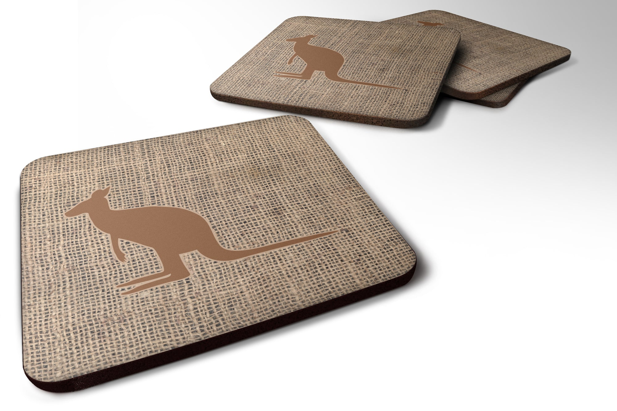 Buy this Set of 4 Kangaroo Burlap and Brown Foam Coasters