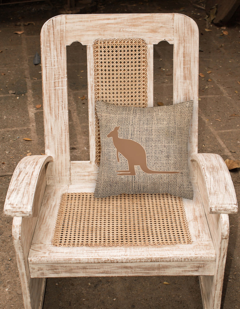 Buy this Kangaroo Burlap and Brown   Canvas Fabric Decorative Pillow BB1008