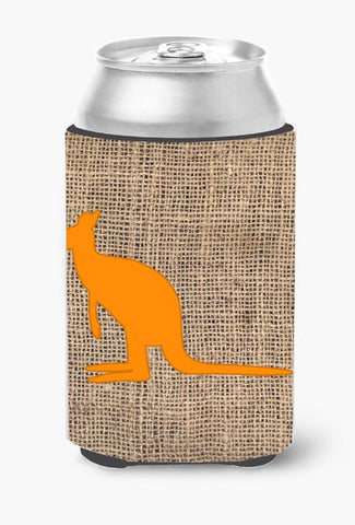 Buy this Kangaroo Burlap and Orange Can or Bottle Beverage Insulator Hugger BB1008