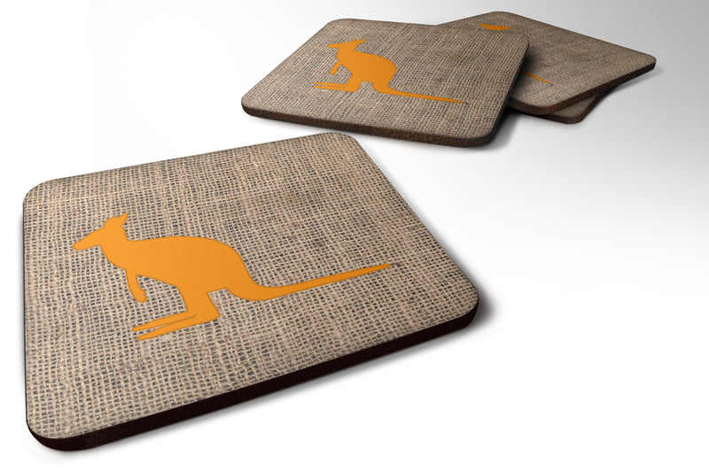 Buy this Set of 4 Kangaroo Burlap and Orange Foam Coasters