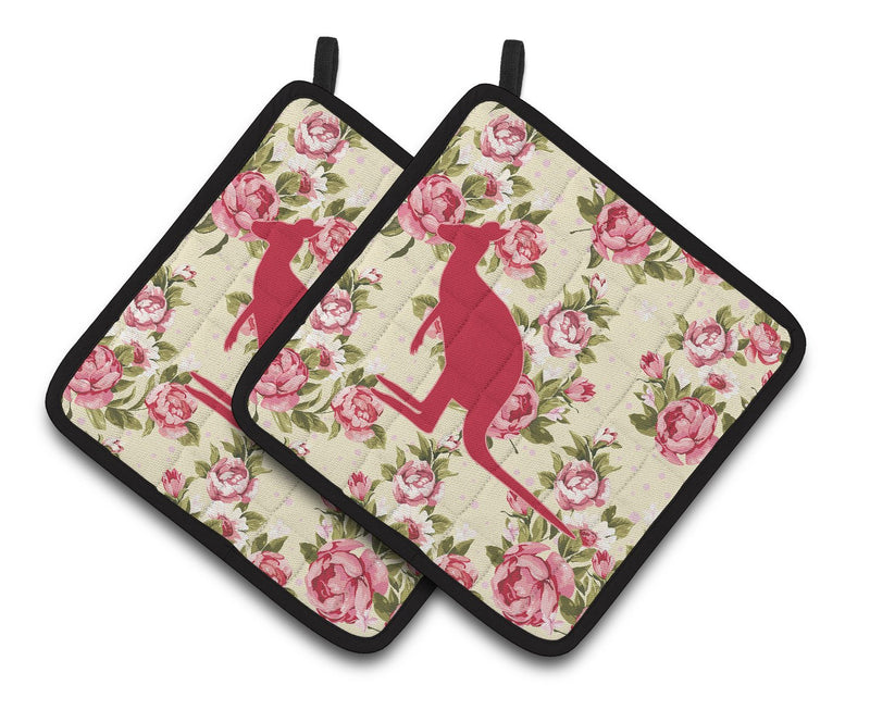 Buy this Kangaroo Shabby Chic Yellow Roses   Pair of Pot Holders BB1008-RS-YW-PTHD