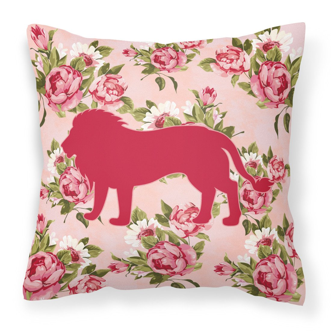 Buy this Lion Shabby Chic Pink Roses   Fabric Decorative Pillow BB1009-RS-PK-PW1414