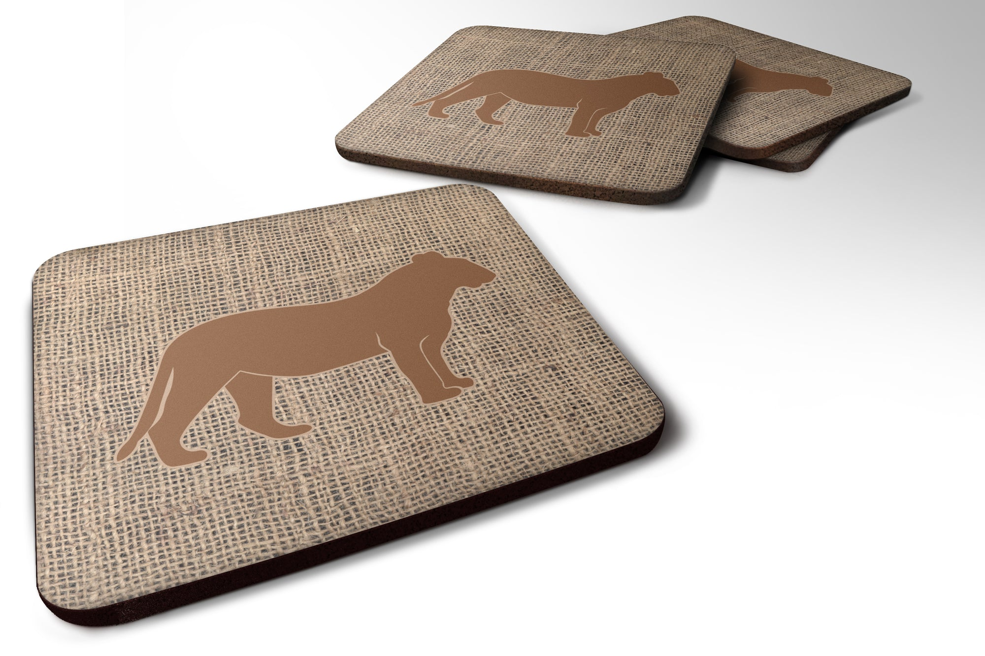 Set of 4 Tiger Burlap and Brown Foam Coasters by Caroline's Treasures